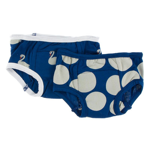 Kickee Pants Training Pants Set of 2 - Navy Queen's Swans & Navy Mod Dot