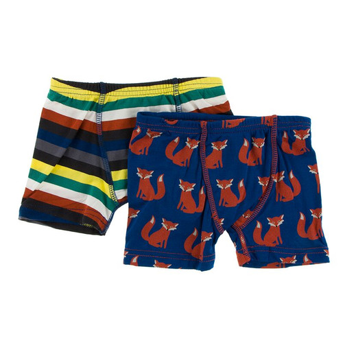Kickee Pants Boxer Briefs Set of 2 - Dark London Stripe & Navy Fox