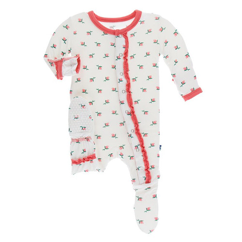 Kickee Pants Print Muffin Ruffle Footie with Snaps - Natural Rose Bud