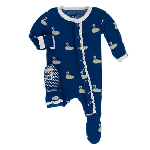 Kickee Pants Print Muffin Ruffle Footie with Snaps - Navy Queen's Swans