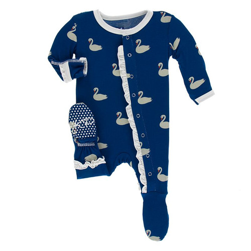 Kickee Pants Print Layette Classic Ruffle Footie with Snaps - Navy Queen's Swans
