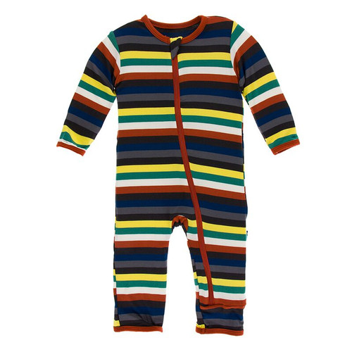Kickee Pants Print Coverall with Zipper - Dark London Stripe