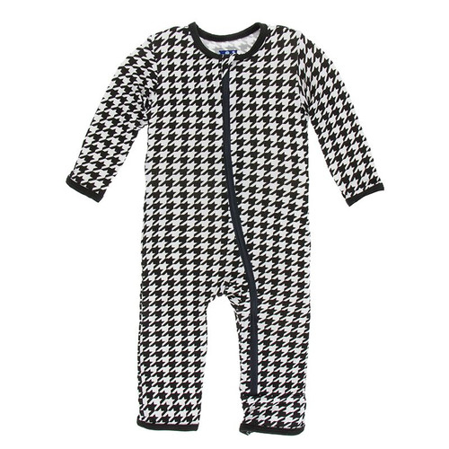 Kickee Pants Print Coverall with Zipper - Zebra Houndstooth