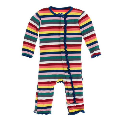 Kickee Pants Print Muffin Ruffle Coverall with Snaps - Bright London Stripe