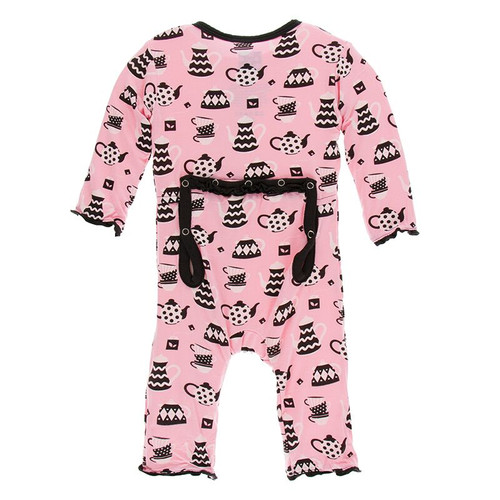 Kickee Pants Print Muffin Ruffle Coverall with Zipper - Teatime