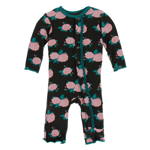 Kickee Pants Print Muffin Ruffle Coverall with Snaps - English Rose Garden