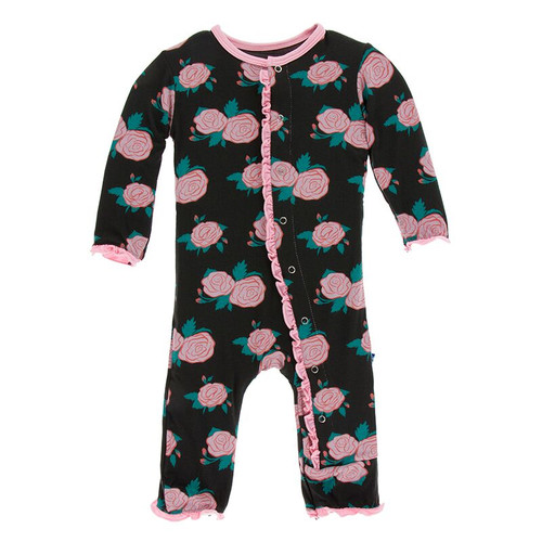 Kickee Pants Print Layette Classic Ruffle Coverall with Snaps - English Rose Garden