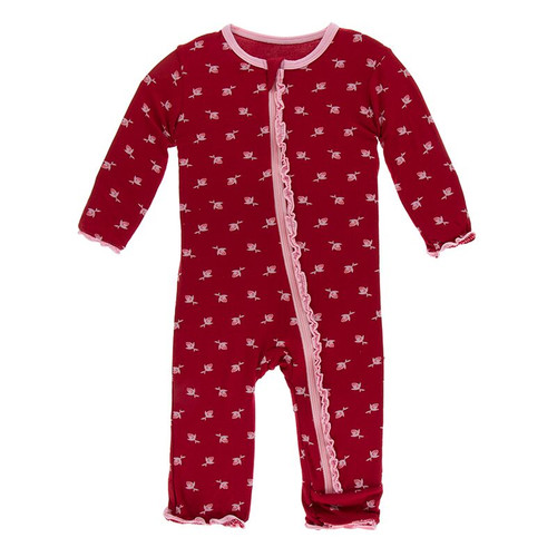 Kickee Pants Print Muffin Ruffle Coverall with Zipper - Candy Apple Rose Bud