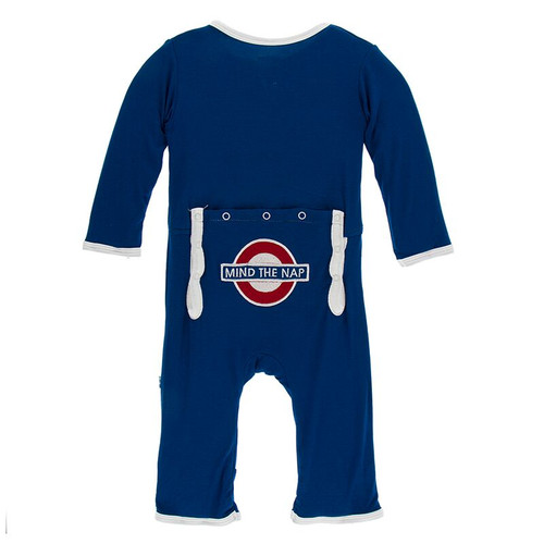 Kickee Pants Print Appliqué Coverall with Zipper - Navy Mind the Nap