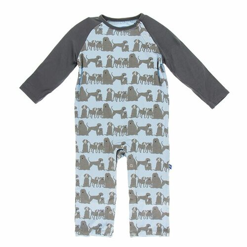 Kickee Pants Print Raglan Romper - London Dogs