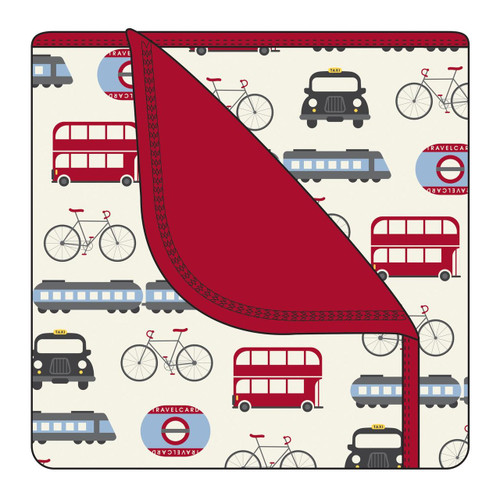 Kickee Pants Custom Print Toddler Blanket - London Transport with Candy Apple Trim
