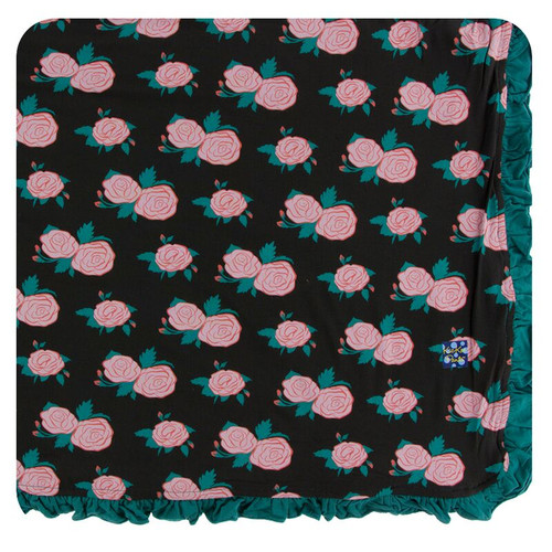 Kickee Pants Print Ruffle Toddler Blanket - English Rose Garden