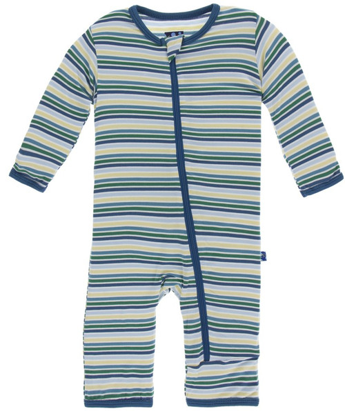 Kickee Pants Print Coverall with Zipper - Boy Perth Stripe