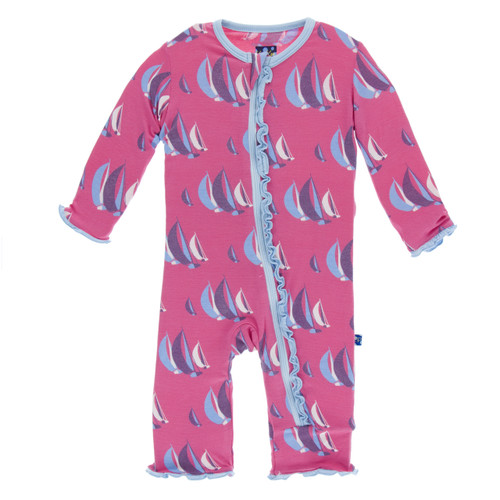 Kickee Pants Print Ruffle Coverall with Zipper - Flamingo Sailing Race