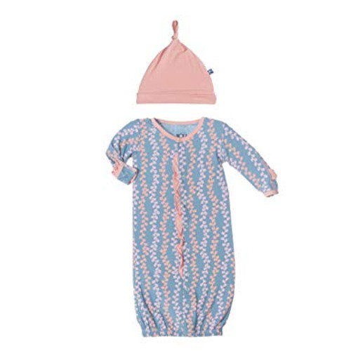 Kickee Pants Print Ruffle Layette Gown Converter & Knot Hat Set - Blue Moon Seaweed