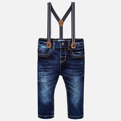 Mayoral Baby Boys Jeans with Suspenders - Dark
