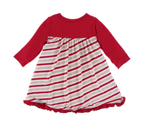 Kickee Pants Classic L/S Swing Dress - Rose Gold Candy Cane Stripe