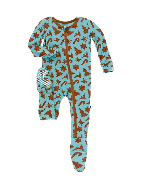 Kickee Pants Print Footie with Zipper - Christmas Cookies