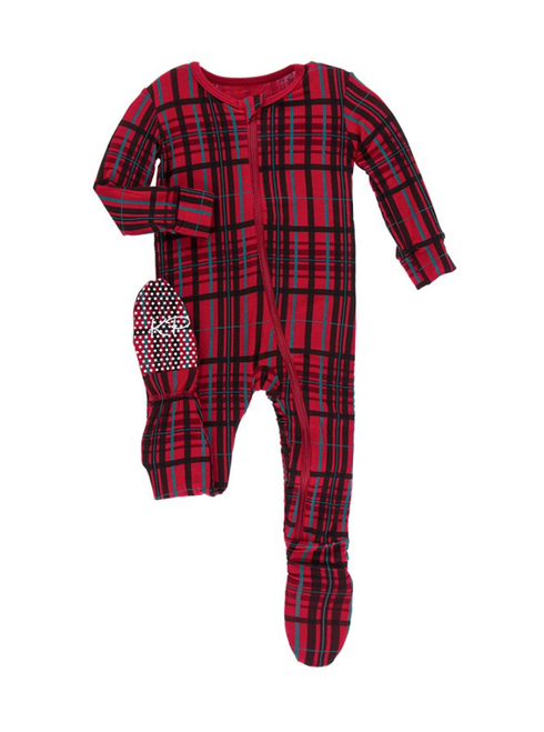 Kickee Pants Print Footie with Zipper - Christmas Plaid
