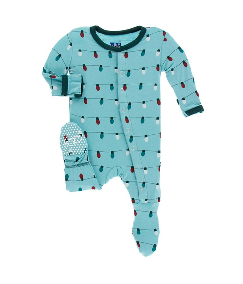 Kickee Pants Print Footie with Snaps - Glacier Holiday Lights