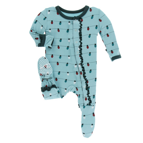 Kickee Pants Print Muffin Ruffle Footie with Snaps - Glacier Holiday Lights