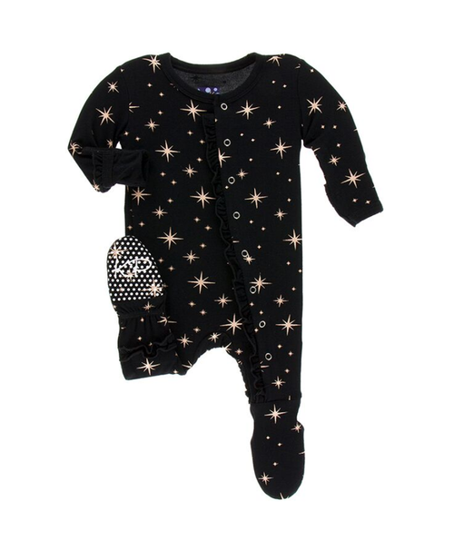 Kickee Pants Print Layette Classic Ruffle Footie with Snaps - Rose Gold Bright Stars
