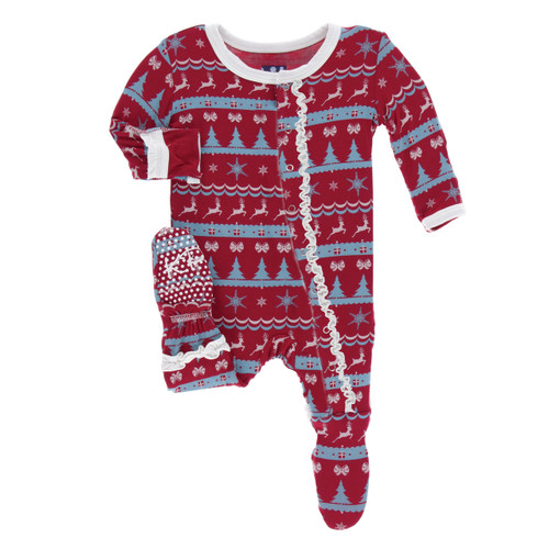 Kickee Pants Print Muffin Ruffle Footie with Snaps - Nordic Print