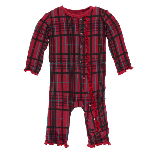 Kickee Pants Print Muffin Ruffle Coverall with Snaps - Christmas Plaid