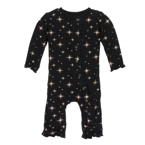 Kickee Pants Print Muffin Ruffle Coverall with Snaps - Rose Gold Bright Stars