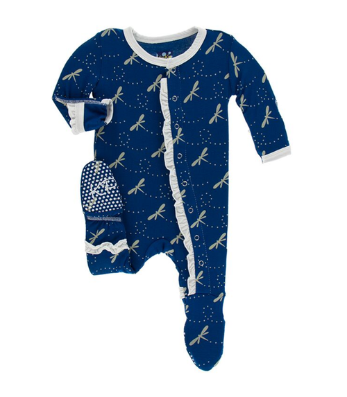 Kickee Pants Print Layette Classic Ruffle Footie with Snaps - Navy Dragonfly