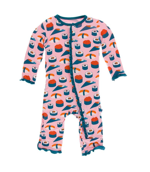 Kickee Pants Print Layette Classic Ruffle Coverall with Snaps - Lotus Sushi