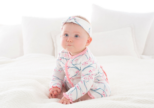 Kickee Pants Print Layette Classic Ruffle Coverall with Snaps - Natural Japanese Cherry Tree