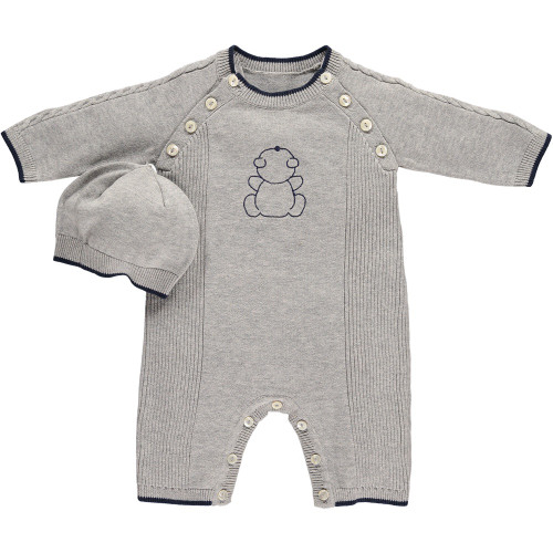 Emile et Rose Gray Sweater Knit Coverall and Hat - Finch