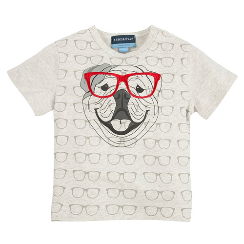 Andy & Evan Four Eyed Fido Tee - Grey Glasses