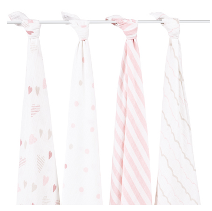 aden+anais Classic Cotton Muslin Multi Purpose Swaddles, Heartbreaker