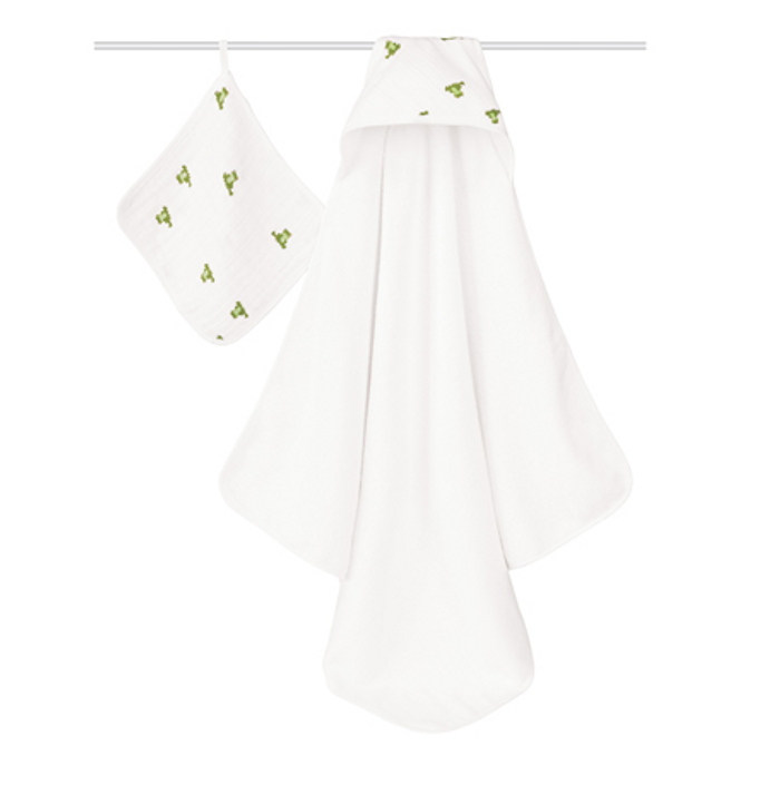 aden+anais Hooded Towel and Washcloth Set, Mod about Baby