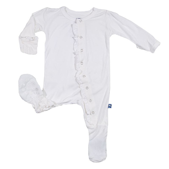 KicKee Pants Girls Ruffle Footie, Natural