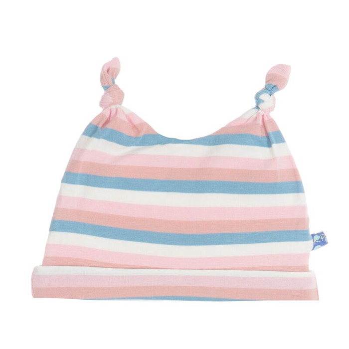 Kickee Pants Double Knot Hat, Girl Salty Seas Stripe