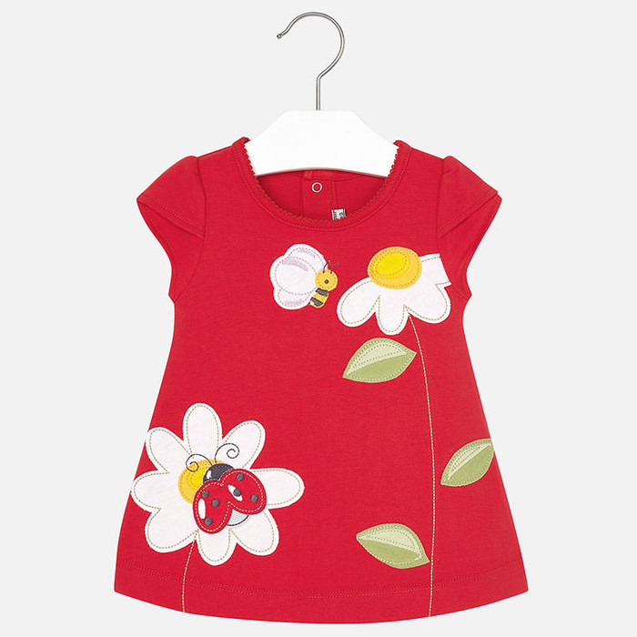 Mayoral Baby Girls Applique Print Dress, Red