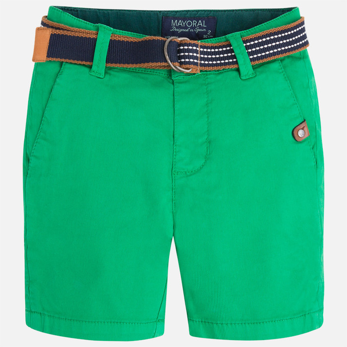 Mayoral Boys Pique Shorts with Belt, Arugula