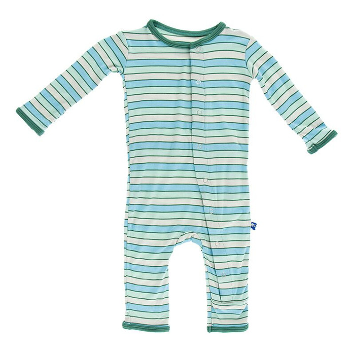 Kickee Pants Print Fitted Coverall, Boy Tropical Stripe