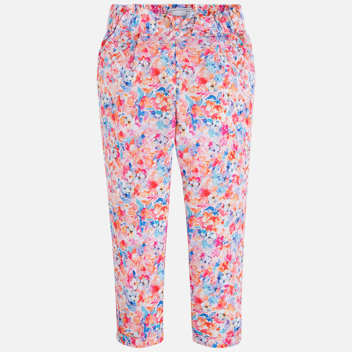 Mayoral Girl floral print long trousers with elastic waist