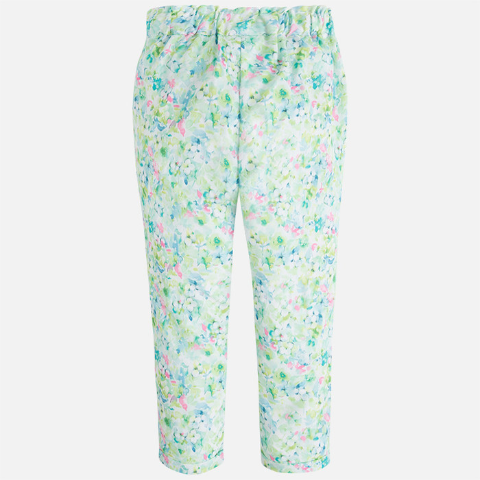 Mayoral Girl floral print long trousers with elastic waist, Kiwi