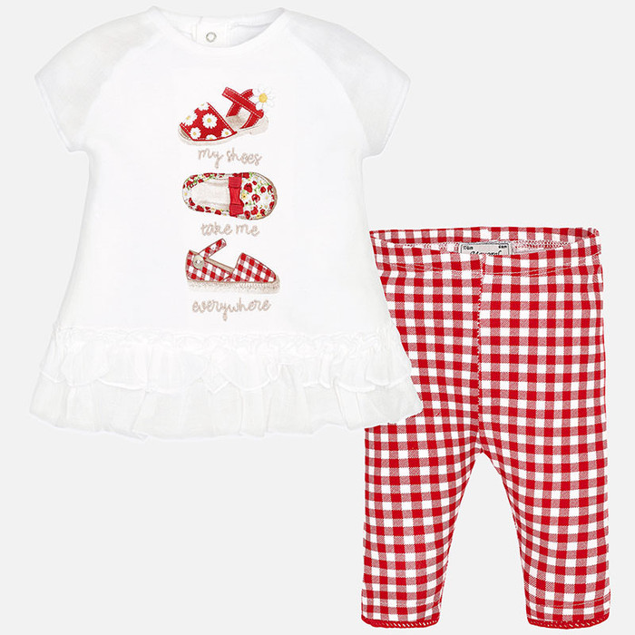 Mayoral Baby girl cropped trousers and t-shirt, Red