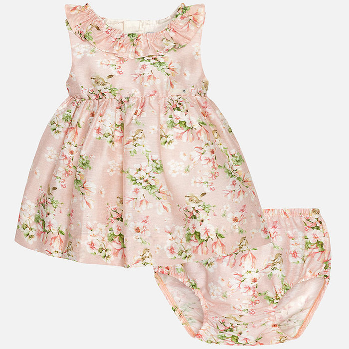 Mayoral Baby girl floral print dress and knickers, Rose