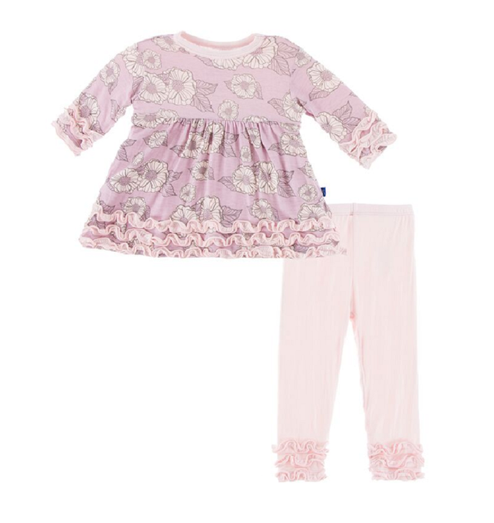 Kickee Pants Long Sleeve Babydoll Outfit Set - Sweet Pea Poppies