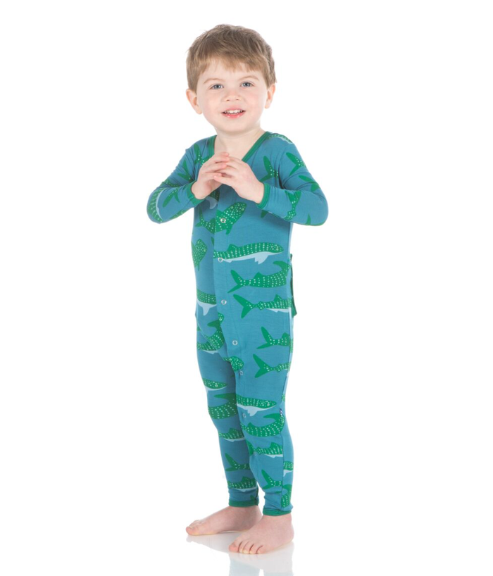 Kickee Pants Print Coverall with Snaps - Seagrass Whale Shark