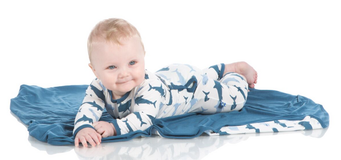 Kickee Pants Print Coverall with Snaps - Natural Megalodon