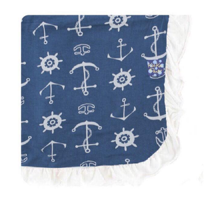 Kickee Pants Custom Print Ruffle Toddler Blanket - Twilight Anchor with Natural Ruffles & Backing