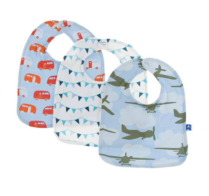 Kickee Pants Bib Set of 3 - Pond Camper, Confetti Party Flags, Pond Airplanes